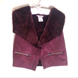 Little Lass girl maroon vest with faux fur 4T
